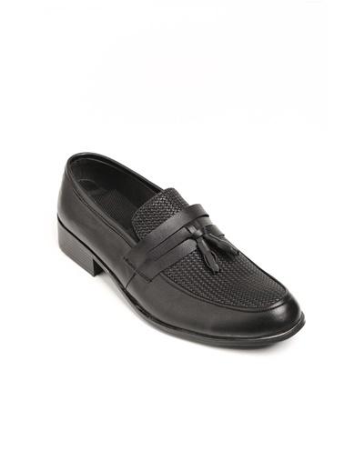 Oksit Gvn 019 Hasır Desen Püsküllü Erkek Klasik Ayakkabı Siyah